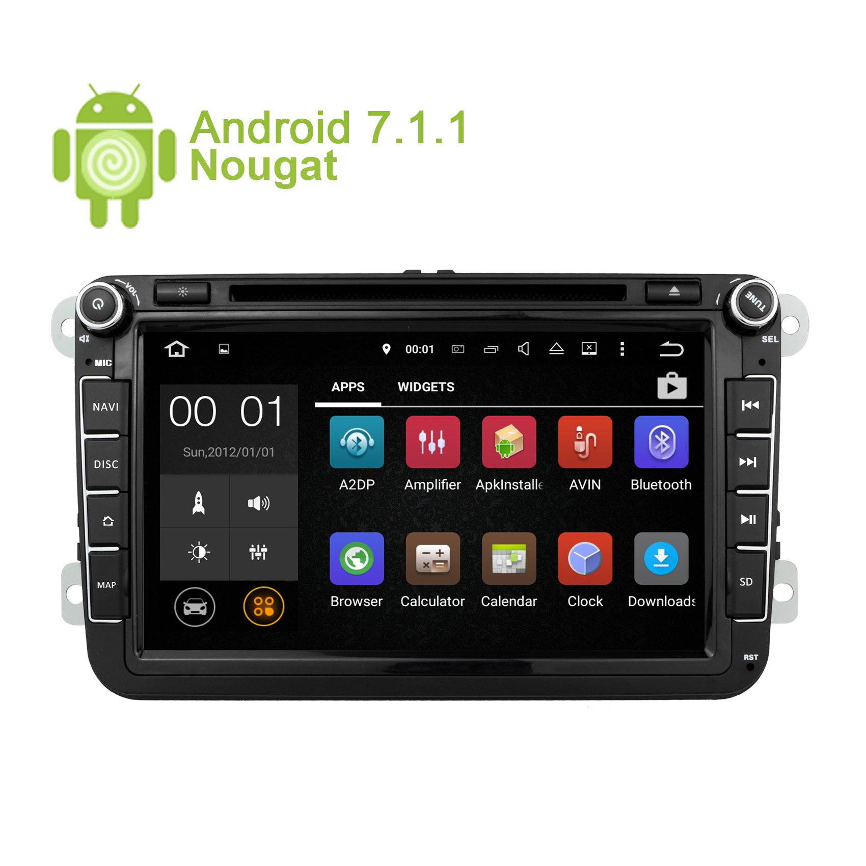 GPS Navigation for Car Stereo Double Din Bluetooth Touch Screen 8 inch Android 7.1 Sat Nav for VW Tiguan Golf Passat Jetta Skoda with Backup Camera and Map