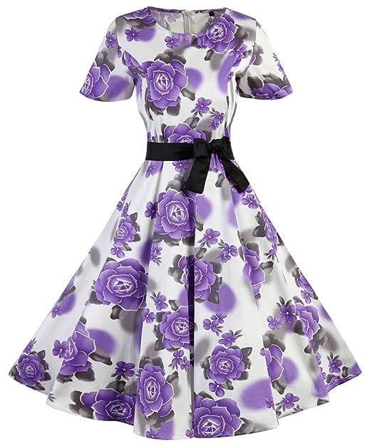 Vestidos Para Mujer De Estilo 1950 Vintage Rockabilly Retro Cóctel Fiesta Estampado de Flores Estilo2 Small