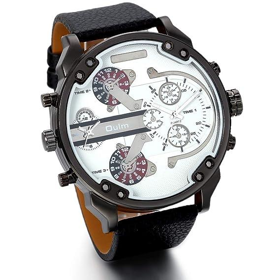 JewelryWe Grande Reloj de Hombre Deportivo Militar Dos Zonas Horarias Blanca, Reloj de Hombre Correa de Cuero Color Negro, Regalo de Navidad: Amazon.es: ...