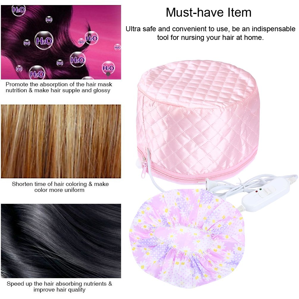 Vbiger Hair Steamer Cap Beauty Nourishing Hat Electrical Wall Outlet Wiring Newhairstylesformen2014com Thermal Treatment With 3 Mode Temperature Control Pink