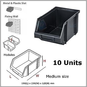 10 x Modular Negro apilables Cajas de almacenamiento caja de plástico 150x230x125