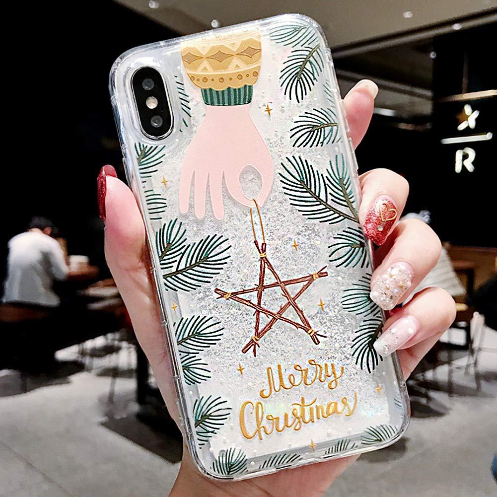 Jinghuash Kompatibel mit iPhone XS Max H/ülle,iPhone XS Max Schutzh/ülle Glitzer,Transparent Silikon mit Weihnachten Xmas Christmas Schneeflocke Muster Bling Fl/üssigkeit Treibsand TPU Silikon Case,#6