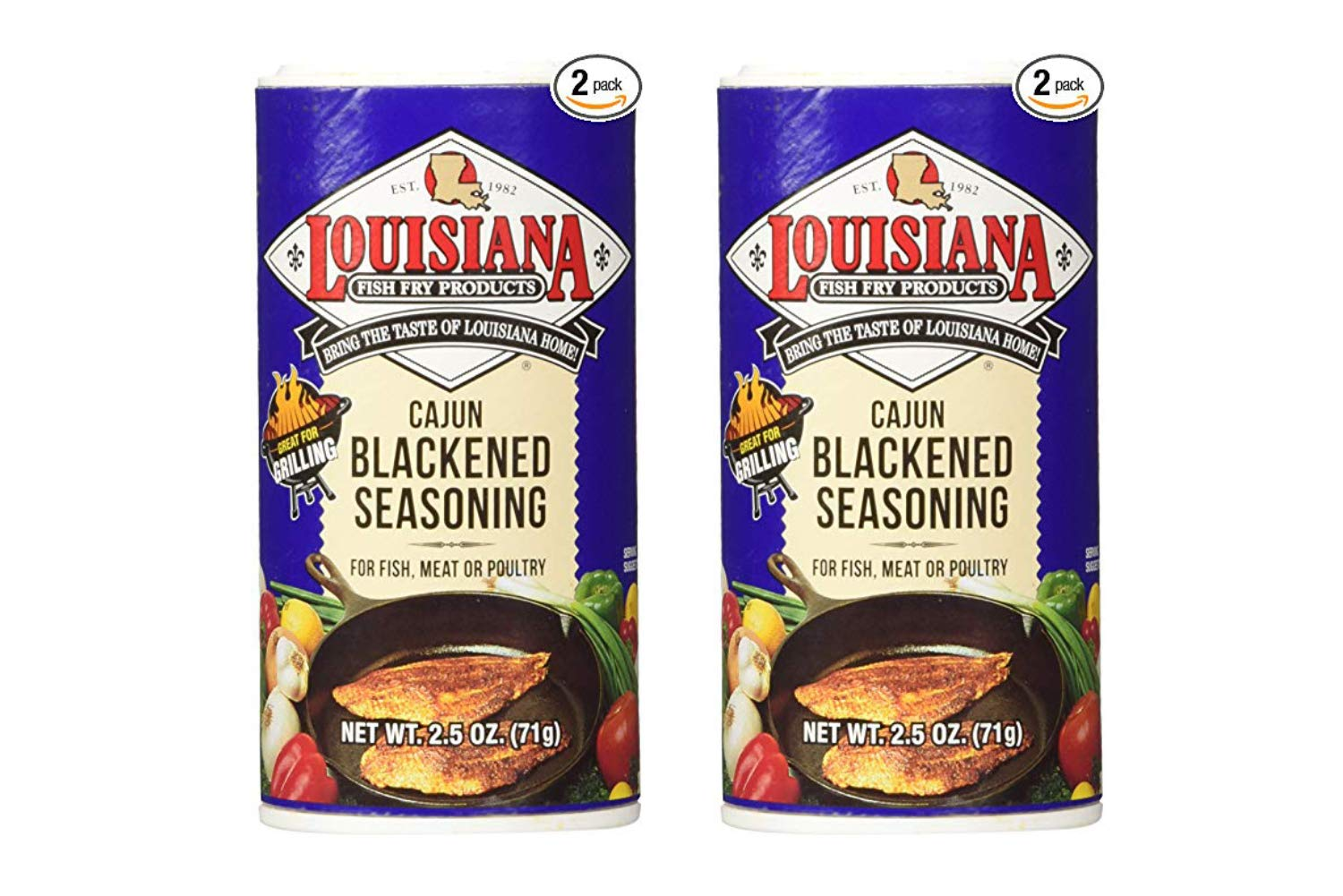 Louisiana Cajun Blackened Seasoning (71 Grams Shakers) 2 Count (2 Pack)