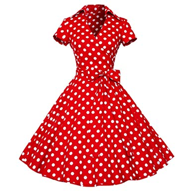 New Women Summer Retro Vintage Pin Up Short sleeve Vestido de fiesta Dresses Polka dots Cotton