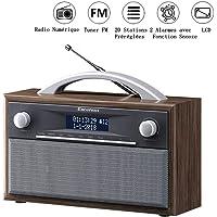 Excelvan Radio FM Portable Digital avec Poignée Radio Polyvalent DAB+ FM Média Main Libre Double Alarme et 20 Préréglages de Station