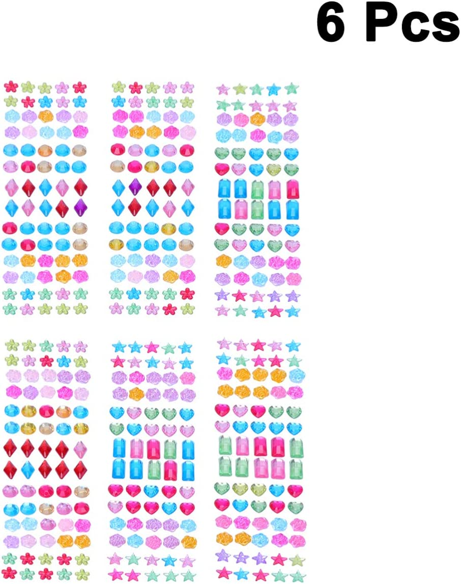 Supvox 6 Blatt selbstklebende Strasssteine ??Sticker selbstklebende Juwelen Sticker Strasssteine ??Sticker mit flacher R/ückseite Edelstein Sticker f/ür Kinder