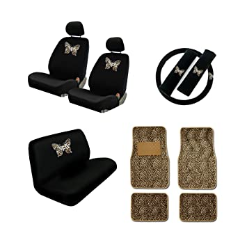 1 Steering Wheel Cover 2 Front and 2 Rear Floor Mats Butterfly Cheetah Tan 2 Low Back Front Bucket Seat Covers with Separate Headrest Cover 2 Shoulder Harness Pressure Relief Cover,1 Bench Cover