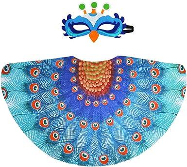 D.Q.Z Disfraz de Pavo Real para niños, alas de pájaro y máscara ...