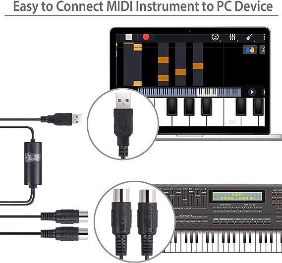 Proster 2M USB a MIDI Interfaz Cable 1 In / 1 Out Interfaz 5-Pin DIN MIDI USB Converter Adaptador USB a MIDI para Mac PC Laptop a Teclado de Piano ...