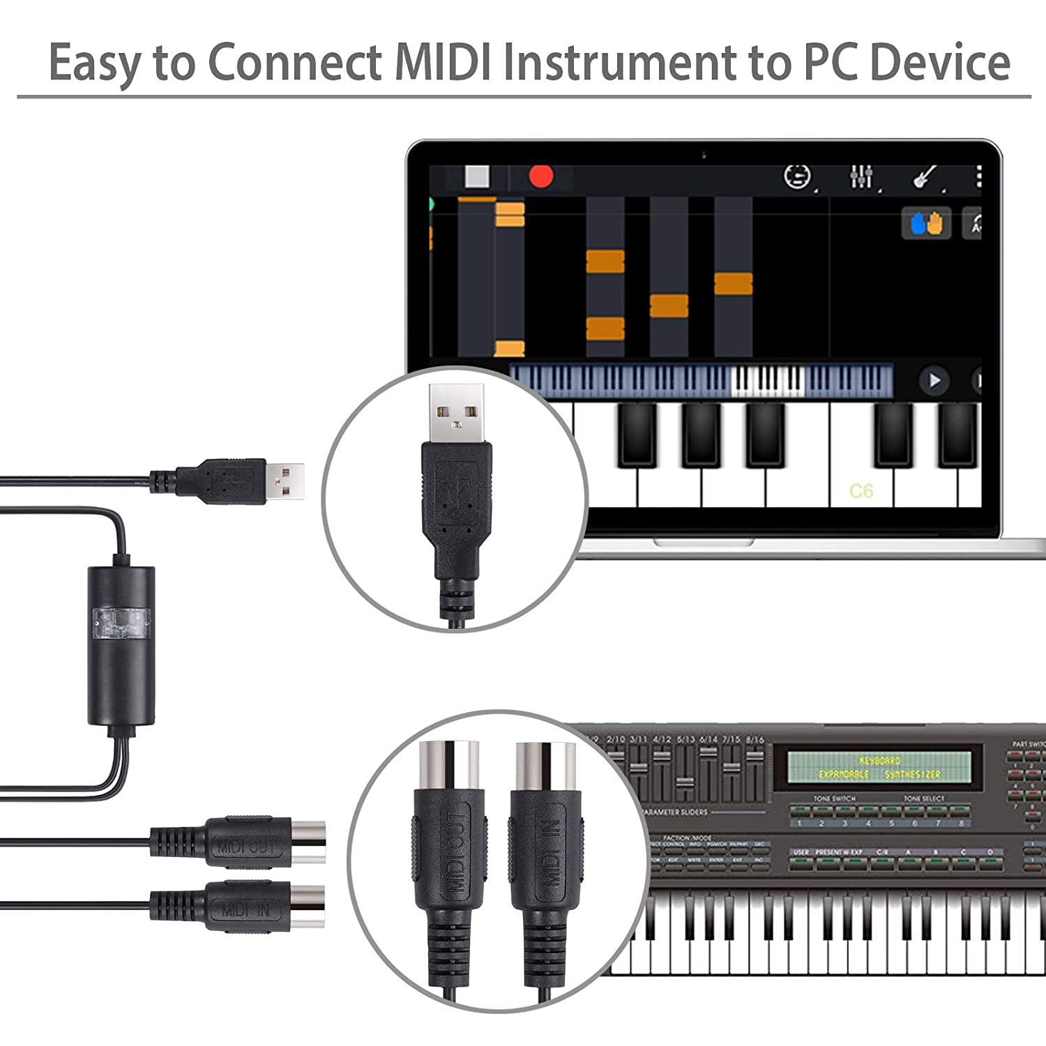 MIDI USB Cable Adapter Interface 5-Pin DIN MIDI to USB in-Out Cable Converter for Mac PC Laptop to Music Piano Keyboard 6.5Ft