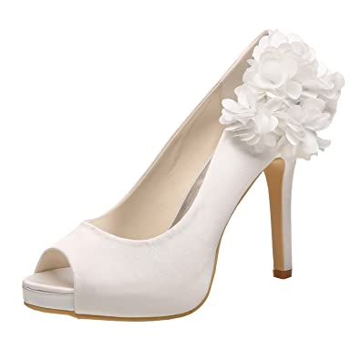 16b22b0211d4 M MULGARIA Women High Heel Pumps Platform Peep Toe Flowers Satin Evening  Prom Wedding Shoes (