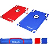GoSports Portable PVC Framed Cornhole Toss Game Set with 8 Bean Bags and Travel Carrying Case - Choose American Flag Design,