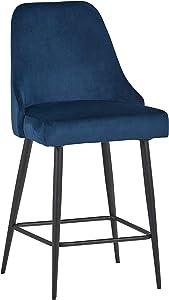 "Rivet Modern Dining Chairs, Set of 2, 39.5""H, Blue"