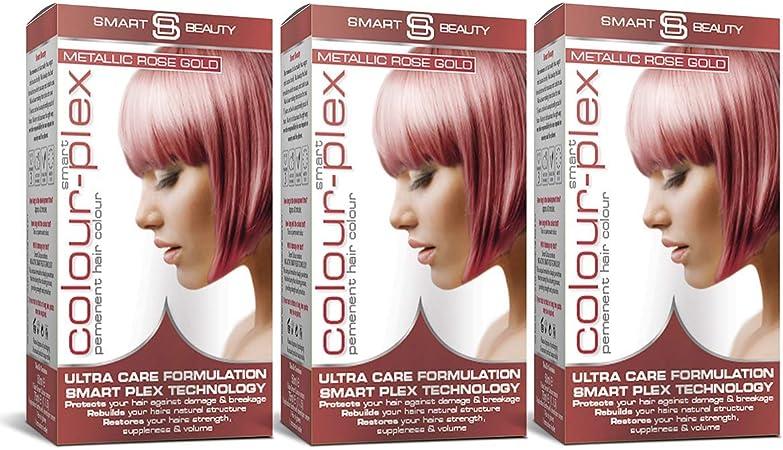 Smart Beauty Tinte de Pelo Permanente, Metálico Pastel Color con Nutritivo Nio-Active Plex Tratamiento Capilar, 150ML Paquete X 3 - Oro Color De Rosa