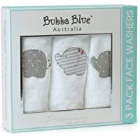Bubba Blue Petit Elephant Face Washers Trio Pack, Neutral Grey/White/Red