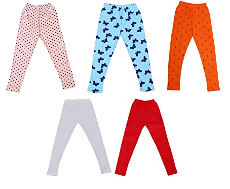 Indistar Girls Super Soft and Stylish Cotton Printed Legging Pants Pack of 3