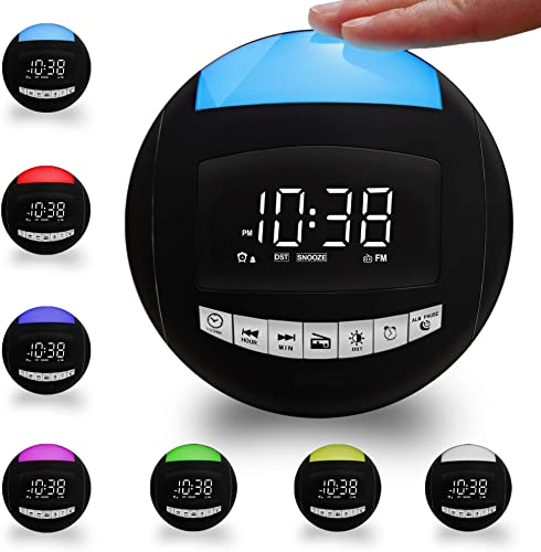 Alarm Clock Radios for Bedrooms,Battery Operated Plug in Digital LED Clock with FM Radio,Sleep Timers,3 Natural Ringers,2 USB Chargers, 12 24 H,7-Color Night Light Portable Radio for Kids Nightstand
