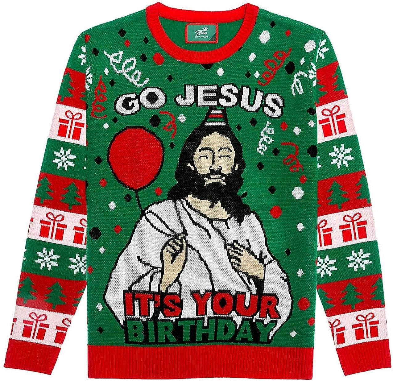 Ugly Christmas Strickpullover Herren Damen Go Jesus It's