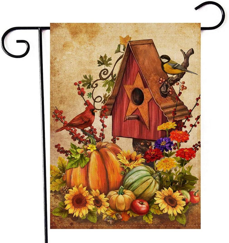 Artofy Welcome Autumn Birdhouse Garden Flag, Fall Harvest Home Decorative House Yard Outside Small Flag Pumpkins Sunflowers Cardinal Seasonal Decor, Thanksgiving Farmhouse Outdoor Decorations 12 x 18