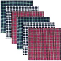 Warwick & Vance Pack Of 6 Mens/Gentlemens Tartan Print Handkerchiefs, Blue, Green & Red, 100% Cotton, 40 x 40cm