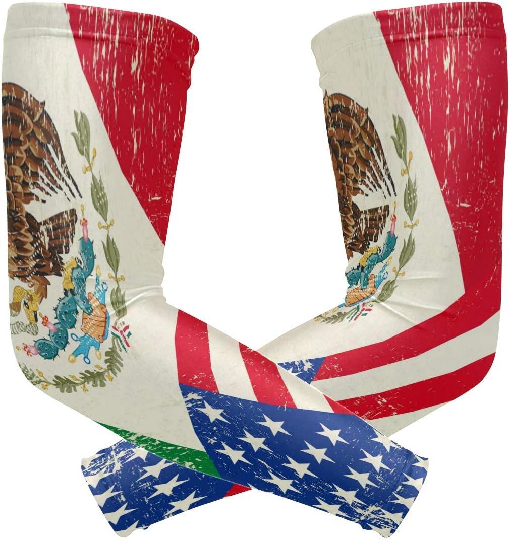 ZZKKO American México bandera brazo de refrigeración mangas cubierta UV protección solar para hombres mujeres running golf ciclismo brazo calentador mangas 1 par: Amazon.es: Salud y cuidado personal