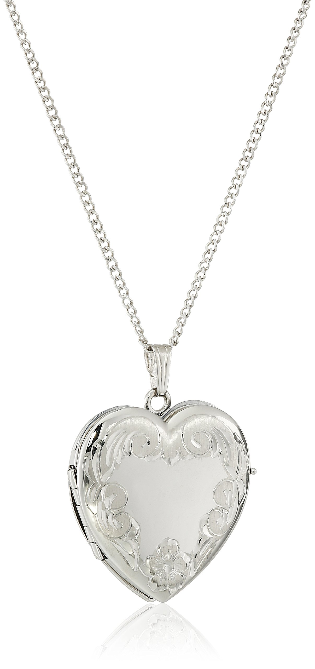 Sterling Silver Engraved Four-Picture Heart Locket Necklace, 20'' by Amazon Collection