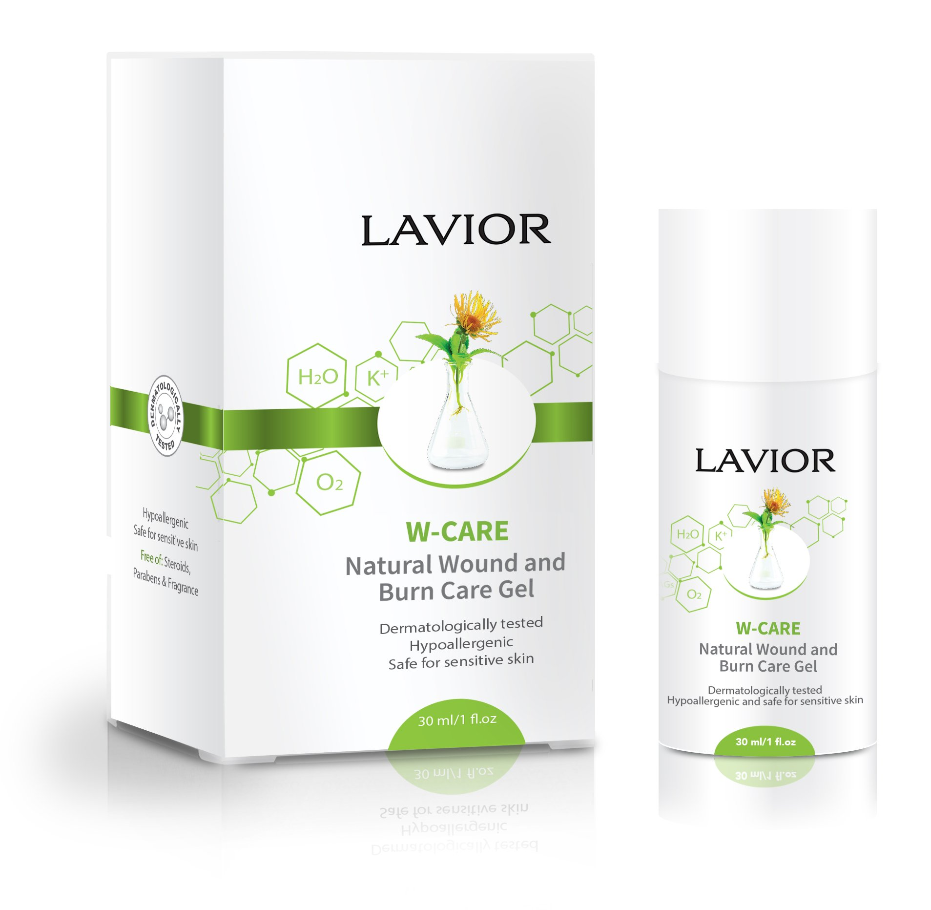 LAVIOR W-Care Natural Wound and Burn Care Gel - Anti-Inflammatory, Antibacterial for Wounds, Burns, Cuts, Scrapes - Clinically Proven, Dr Recommended