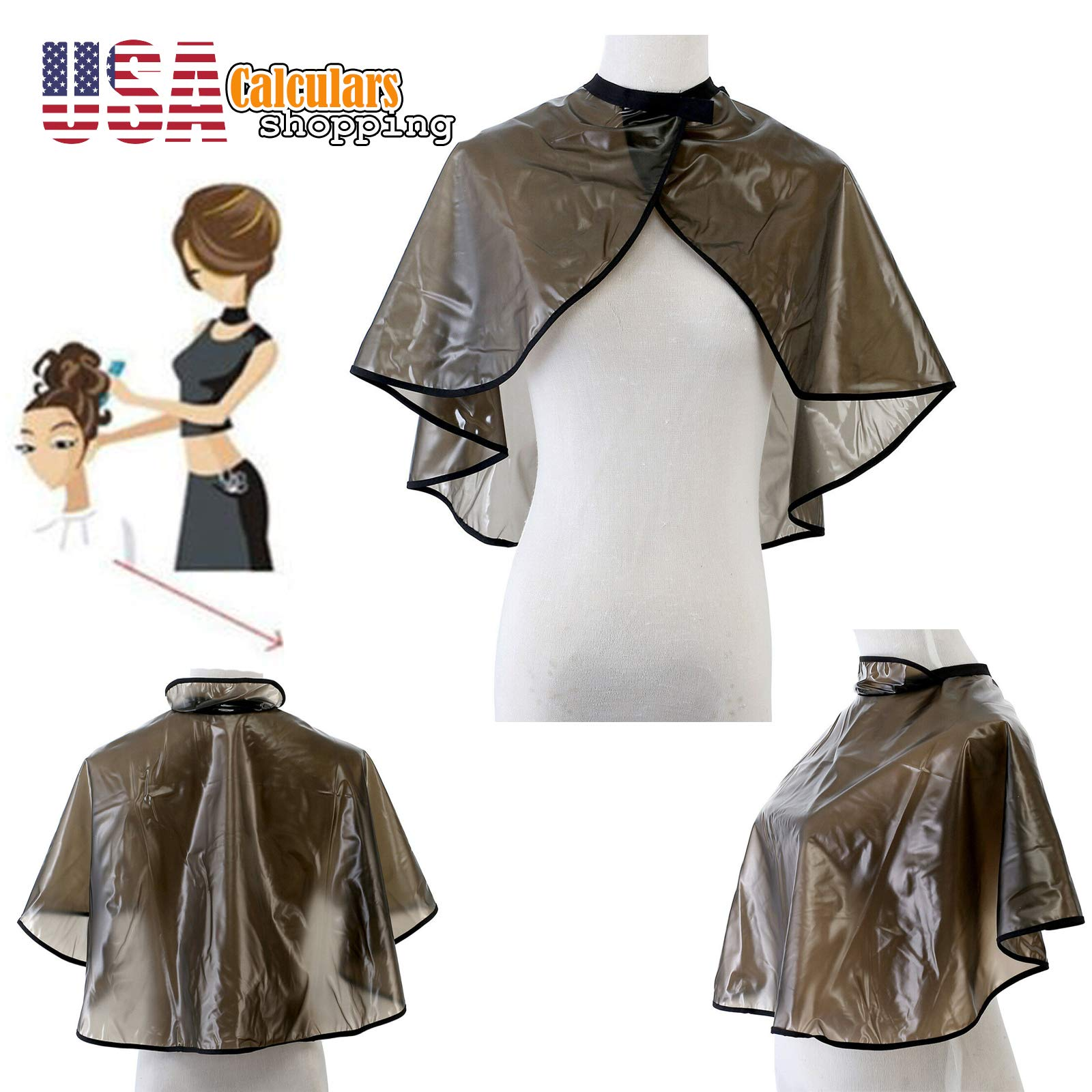 US Seller Hair Cutting Dye Cape Pro Salon Hairdressing Hairdresser Gown Barber Cloth Apron (brown) by Calculars