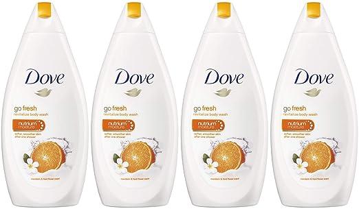 Dove Go Fresh Body Wash, Revitalize, Mandarin & Tiare Flower Scent, 16.9 Ounce / 500 Ml (Pack of 4) International Version