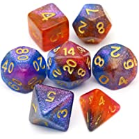 Haxtec Blue Purple Orange Glitter DND Dice Set of 7PCS Polyhedral D&D Dices for TTRPG Dungeons and Dragons