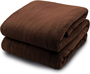Pure Warmth MicroPlush Electric Heated Blanket Queen Chocolate