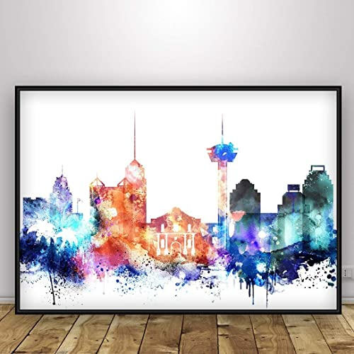 San Antonio Texas Watercolor Skyline Wall Art Home Decor Poster UNFRAMED