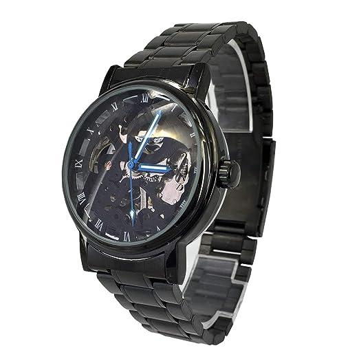 Reloj de pulsera con caja negra y esfera transparente, mecanismo de cuerda automático, de acero inoxidable, de CITY: Amazon.es: Relojes