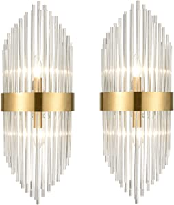 Mid Century Brass Glass Rods Wall Sconce 2 Pack Modern Luxury-Look Clear Glass Wall Lights Art Decor
