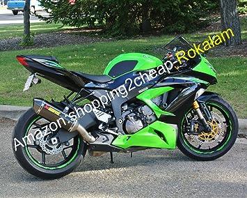 Kawasaki NINJA ZX6R ZX 6R 636 ZX636 2013 2014 2015 Negro Verde 13-15 ZX-6R Kit de carenado de motocicleta (moldeo por inyección): Amazon.es: Coche y moto