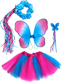 48656c79001 Enchantly Girls Hot Pink and Blue Fairy Costume with Wings