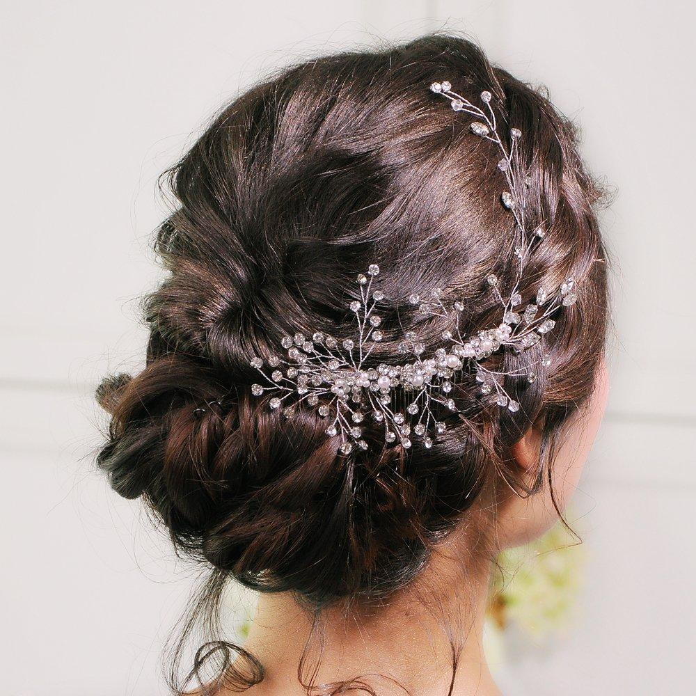 ULAPAN Wedding Hair Vine Wedding Hairpiece Crystal Bridal Headpiece Headband Headwear with Comb