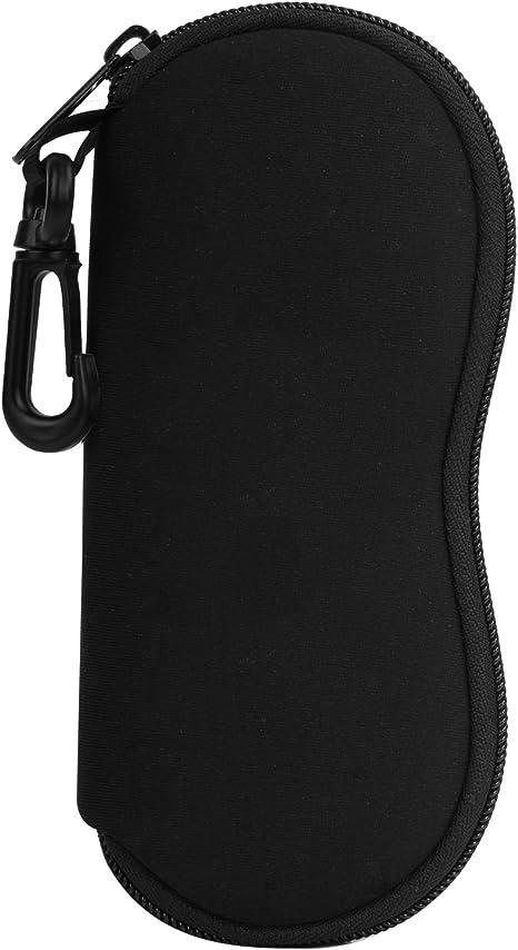 MoKo Funda de Gafas - [Ultra Ligero] Neopreno con Cremallera Almacenaje Lente Suave Sunglasses Case con Clip de Cinturón para Gafas, Bolsa de Llaves, Lápices, Tarjetas, Negro: Amazon.es: Deportes y aire libre