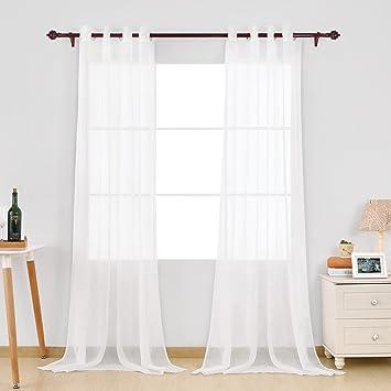 a14f69ffb3edc3 Deconovo Voilage Effet Lin Transparent Uni Blanc à Oeillets pour Fenêtre  140x240 cm