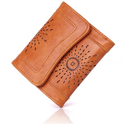 APHISONUK Cartera para Mujer Bolsa de Moda Retro Clásico Cuero de PU Billetero con Cremallera y Botón Monedero para Tarjeta de crédito - Empaquetado ...