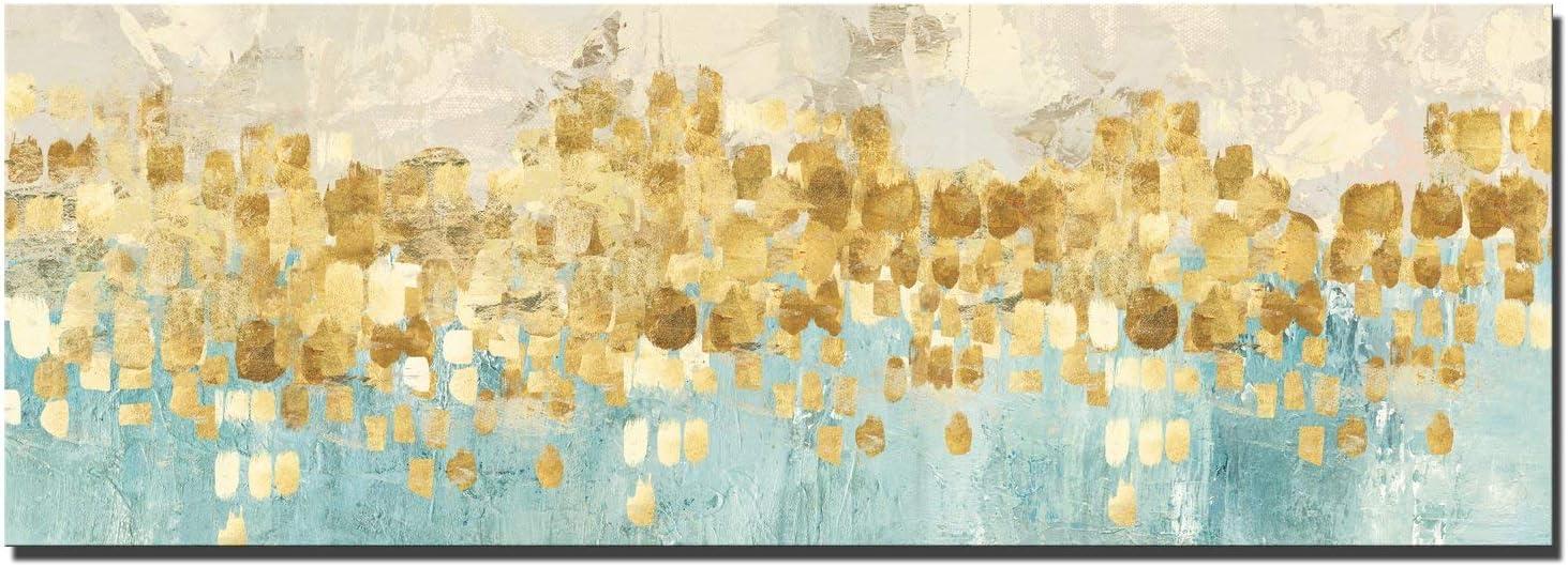 Fajerminart Impresión De Lona de Arte Para Pared - Oro Arte Impresión para Dormitorios Modernos Pintura De La Lona Grande Arte (Sin Marco) (70x210cm)
