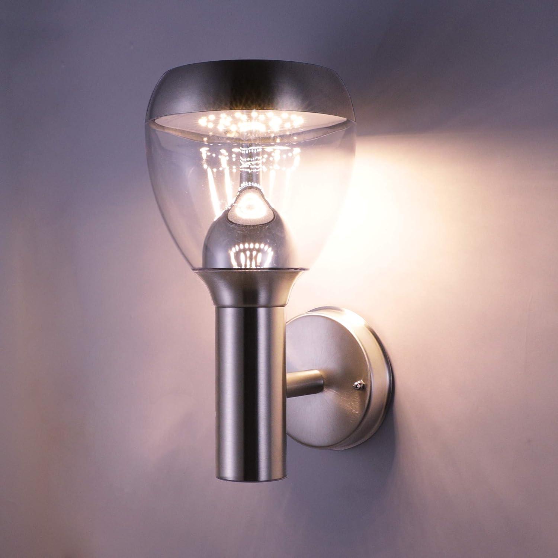 NBHANYUAN Lighting® LED Außenleuchte mit Bewegungsmelder und Dämmerungsschalter Aussenwandlampen Silber Edelstahl 3000K Warmweiß Licht 220-240V 1000LM 9.5W IP44 (mit PIR Sensor) HY006AUP+PIR