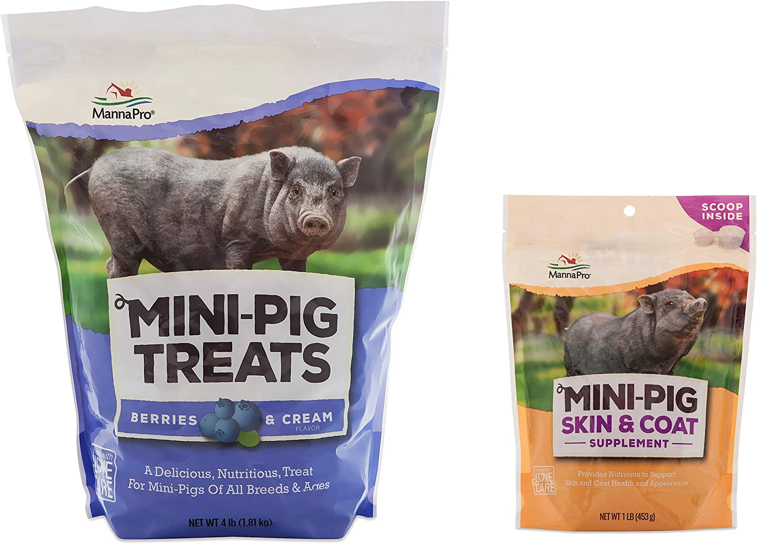 Manna Pro Mini Pig Treat, 4 Pounds and Supplement, 1 Pound Variety Pack of 2