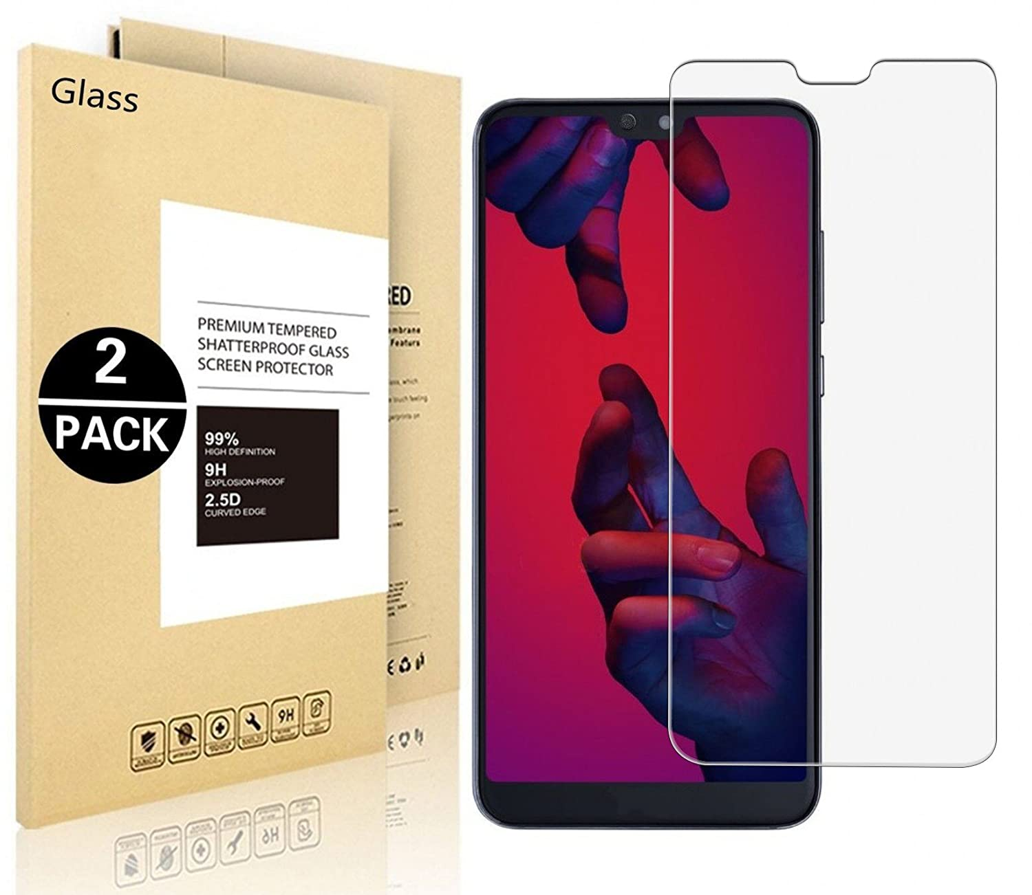 Huawei P20 Lite Protective Film, Vigeer [2 Pack] [0,3mm, 2,5D] [9H Hardness] [HD Clear] Hardened Tempered Glass Screen Protector for Huawei P20 Lite