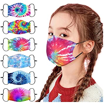 GOXIANG Kids Face Mask Reusable Washable Cloth Face Cover for Protection Adjustable Cute Pattern Comfortable Elastic Ear Loops Safety Masks School Supplies