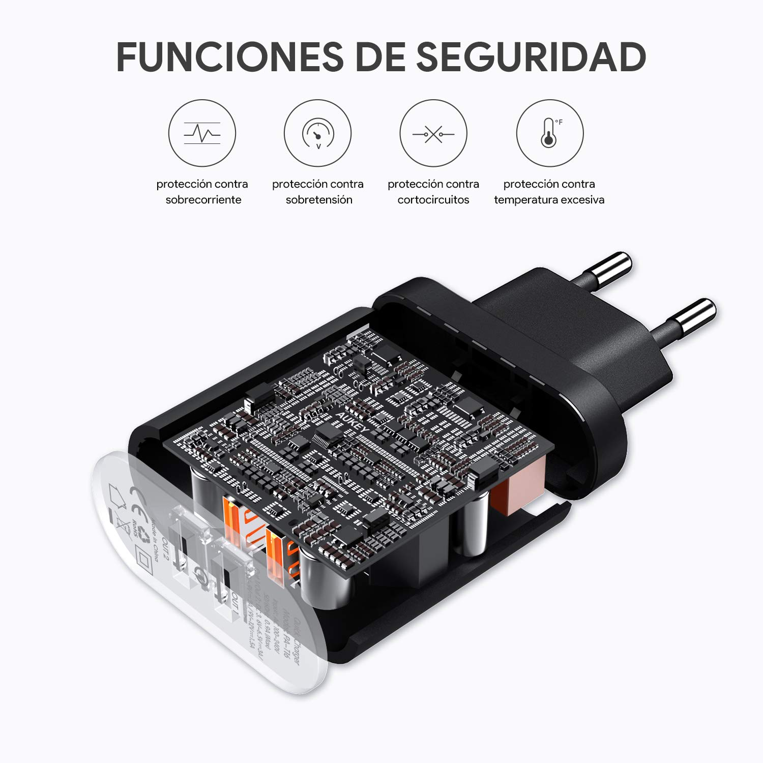 AUKEY Quick Charge 3.0 Cargador de Pared 39W Dual Puerto Cargador Móvil para Samsung Galaxy S8 / S8+/ Note 8, iPhone XS / XS Max / XR, iPad Pro / Air, ...