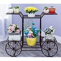 NAYAB Floral Design Metal Step Style 3 Tier Corner Shelf for Flower Pots Planters Holder Display Stand for Garden Balcony Indoor Outdoor Shoe Rack