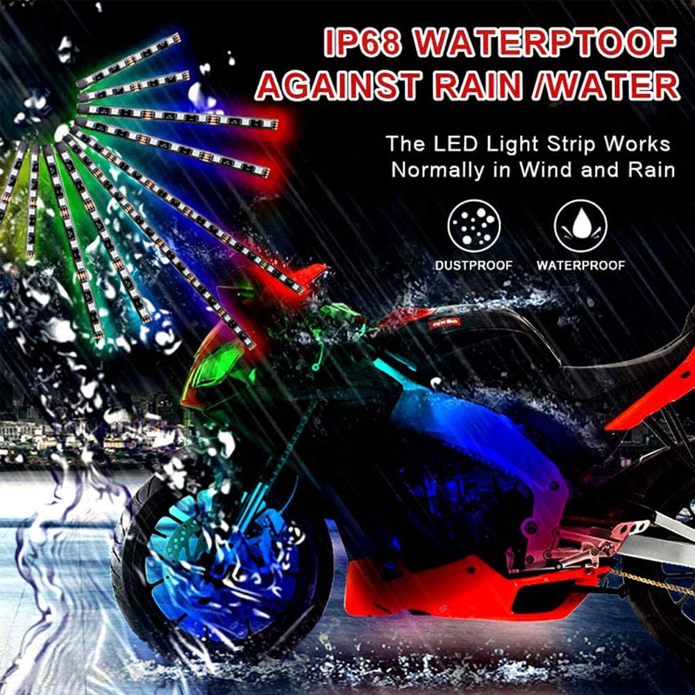 Motorcycle LED Light Kits Strips BaishenglinMotor 12pcs Multicolor Accent Glow Neon Ground Effect Atmosphere Decorative Underglow Lamp Strip With Remote Controller for Harley Davidson Honda Kawasaki
