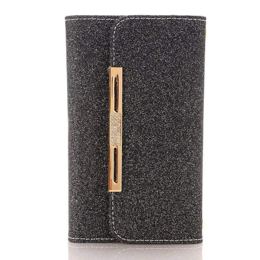 MeiLiio iPhone 6 Plus/6S Plus Case Wallet Cover, Glitter Powder Bling PU Leather Flip Zipper Wallet Cover Cards Slots Girls Lady Wristlet HandBag Apple iPhone 6 Plus,iPhone 6S Plus 5.5 inch (Black)
