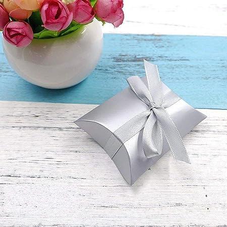 JZK 50 x Caja de regalo para caramelos regalo bombones dulce confeti Invitación con cinta para boda bautizo cumpleaños Navidad graduación comunión, plata: Amazon.es: Hogar